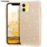 Glitter Fall Für iPhone 11 Pro Max 12 Mini X XR XS 8 Plus 7 SE 2020 Bling Sparkle Nette mädchen Frauen Stoßfest Silikon Abdeckung Gold