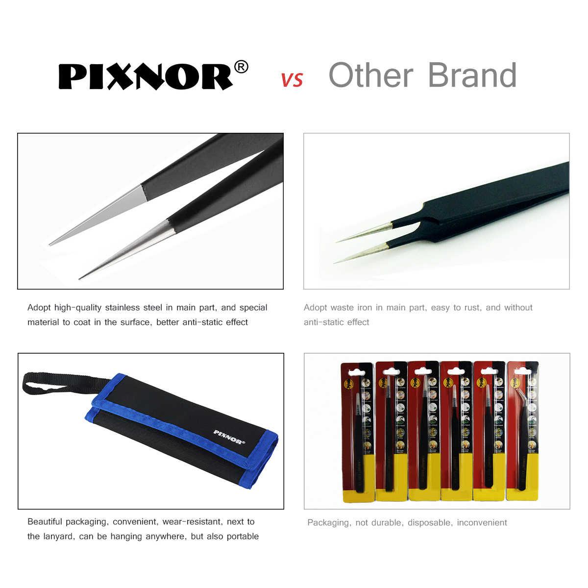 Pixnor 9 Pcs ESD Pinset Alat Kit Presisi Antistatik Tip Melengkung Lurus Stainless Steel Pinset Sesuatu Yg Menjentik Perbaikan Alat Baru