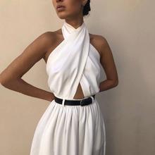 Women Boho Bohemian White Maxi Jumpsuit Casual Bandage Party Elegant Backless A Line Long