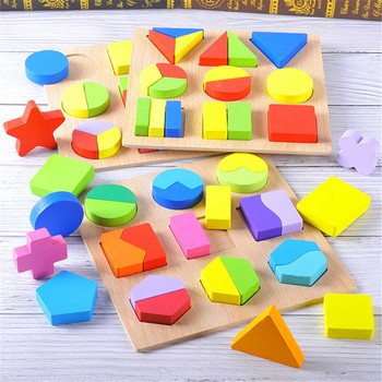 Baby Education Geometric Shape Puzzle Wooden Kids Toys Montessori Shape&Color Matching Puzzles Board Babies Learning Wood Toy simingyou wooden toys puzzle color toy for color exerciseand shape identification exercise drop shipping