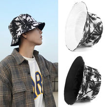 Unisex Reversible Bucket Hat Women Men 2021 Summer Coconut Tree Print Fisherman Hat hip hop bob chapeau fishing Sun Cap black