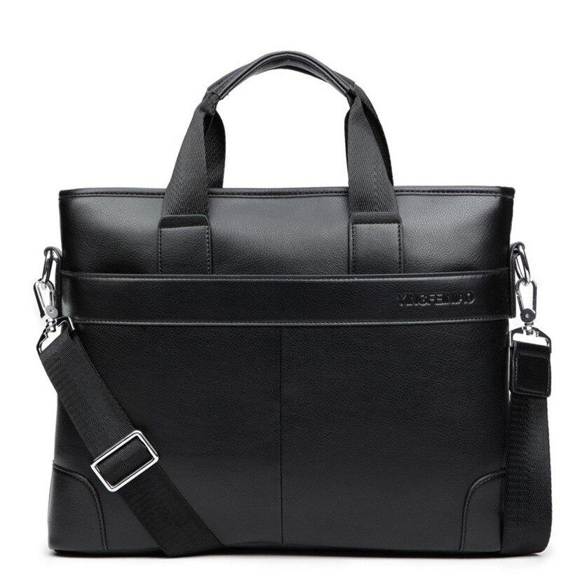 Men's Business Office Briefcase Luxury Brand Leather Handbag Computer Laptop Shoulder Bag Women Solid Black Messenger Bags 2019