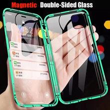 360 caixa de adsorção de metal magnético para iphone 12 11 pro x xs max xr vidro de dupla face para iphone 12 mini 6s 7 8 plus se capa
