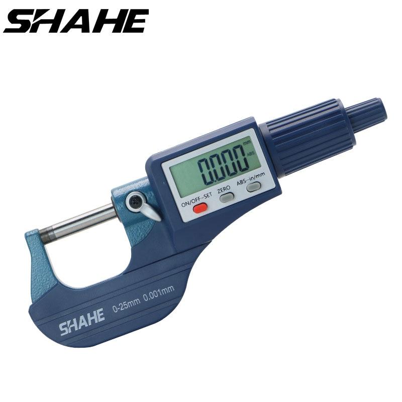 Shahe 0-25/25-50/50-75/100mm Micron numérique extérieur micromètre électronique micromètre jauge 0.001mm outils numériques étrier