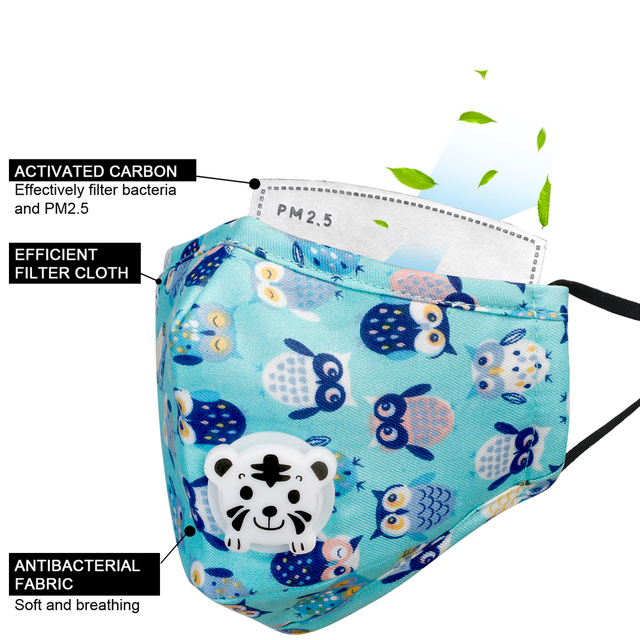 Tcare Mouth Mask Children Kids Pure Cotton Face Mask PM2.5 Respirator with Cartoon Animal Breath Valve Fits 3-15 Years Old Kids 1