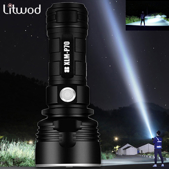Litwod LED Flashlight Powerful Xhp70 Tactical Torch USB Rechargeable 26650 flash light Outdoor waterproof camping fixed focus