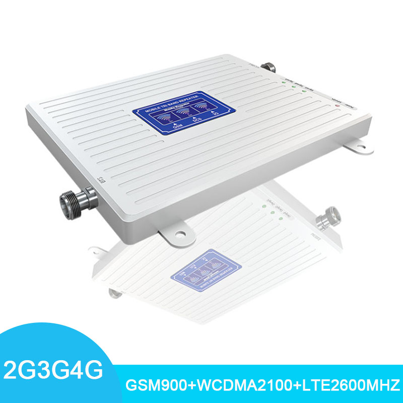LCD Display 4G Cellular Signal Amplifier Tri Band- GSM900/WCDMA2100/LTE2600mhz Signal Repeater 70dB Cell Phone Signal Booster