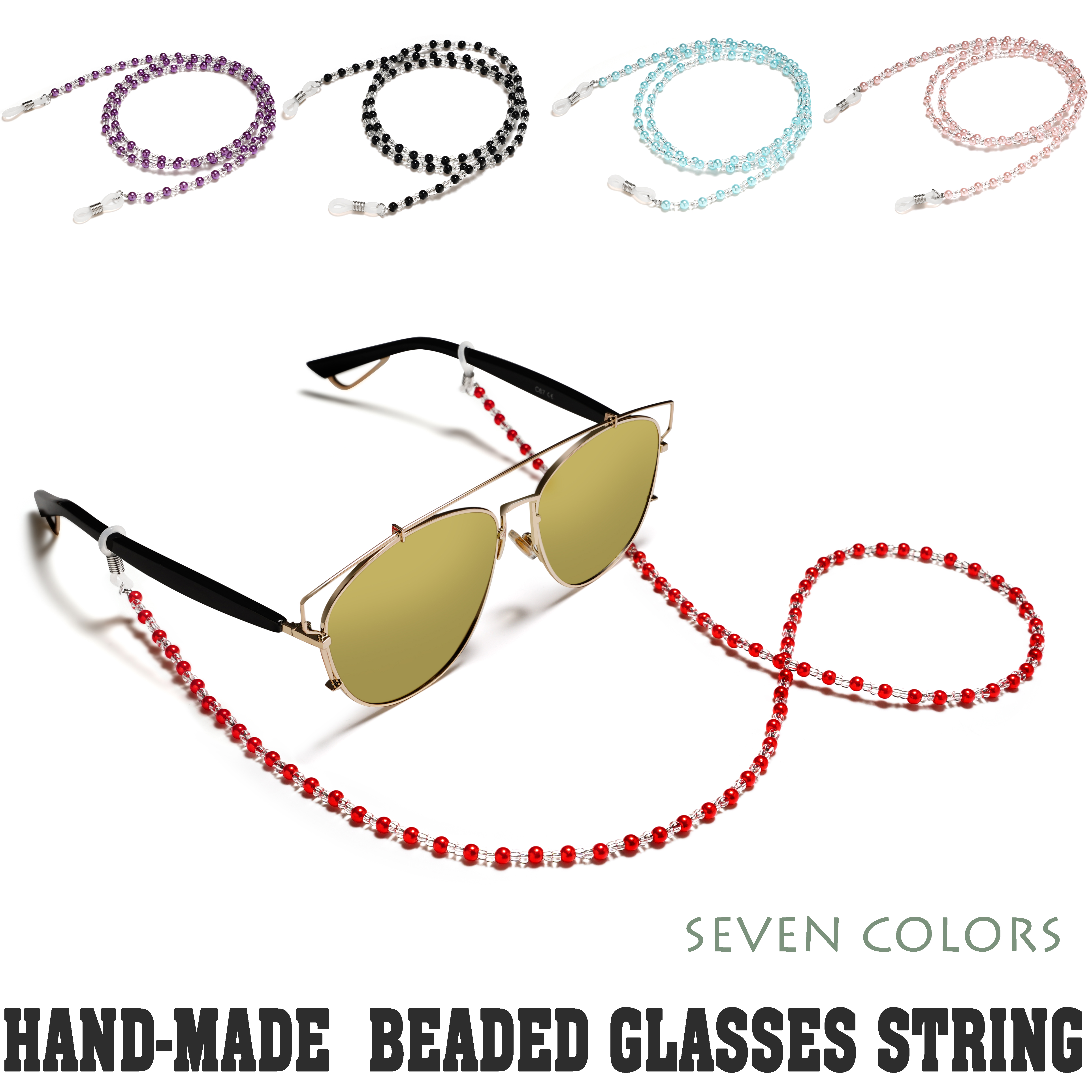 Acrylic Beaded Glasses Chain Simple Vintage Casual Eyeglass Anti-slid Holder Ajustable For All Eyeglasses 6 Colors Available