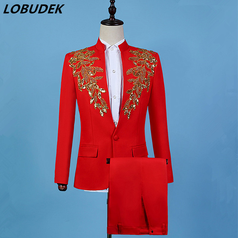 Stand-Collar Gold Beads Sequins Red Blazers Men's Suits Singer Chorus Performance Clothes Male Host Stage Formal 2 Pieces Suit
