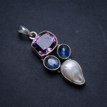 "Natural Amethyst,Biwa Pearl and Kyanite Handmade Unique 925 Sterling Silver Pendant 2"" U0343"