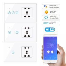 Ewelink Support WIFI Electrical Smart Switch 1/2/3-gang Wall Touch Light Switch With Universal Socket For EU UK US AU Power Plug