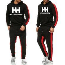 2019 Men Sportswear H Hoodies Set Spring Suit Clothes Tracksuits Male Sweatshirts+Pants Suits Joggers Plus Size XXL