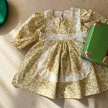 Vestidos de estampado Floral para niñas, ropa de encaje de algodón de manga larga para niñas Princesa, primavera 2021