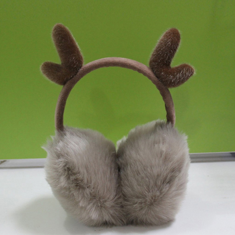 Novelty Women Warm Earmuffs Ear Warmer Cute Antlers Fur Winter Earmuffs Gift For Girl Cover Ears Super Soft Plush Ear Muff