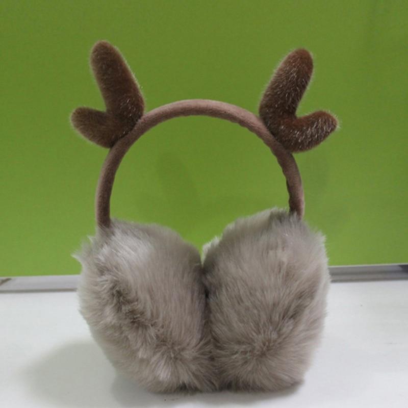 Novelty Women Warm Earmuffs Ear Warmer Cute Antlers Fur Winter Earmuffs Gift For Girl Cover Ears Super Soft Plush Ear Muff