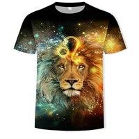 T-Shirt oversize da uomo con stampa 3D leone moda o-collo Casual tendenza manica corta T-Shirt oversize vendita Punk Streetwear top