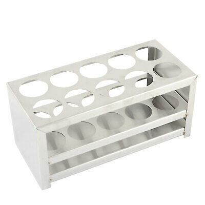 Silver Tone Stainless Steel 10 Holes 30mm Dia Centrifuge Tube Rack