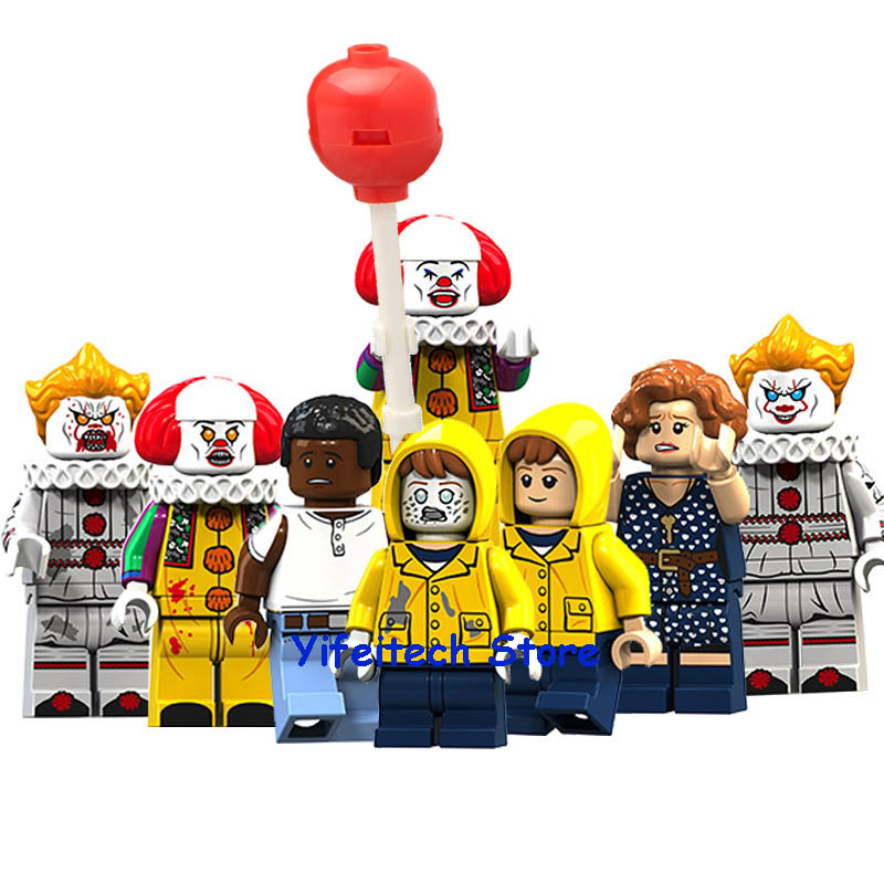 8Pcs Halloween Horror Movie Pennywise Clown George Beverly Chosen Jacobs Model Building Blocks Action Figure Toys For Children