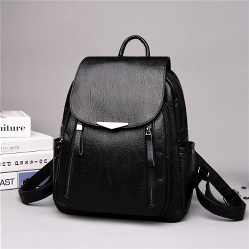 Femmes sac à dos PU femme sacs à dos Vintage en cuir sacs d'école grande capacité sac d'école pour filles Double fermeture éclair sacs à bandoulière - 2