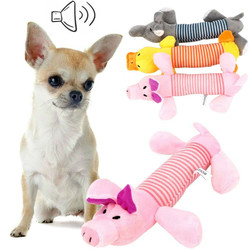Squeak Chew Dog Toys Sound Dolls Dog Cat Fleece Pet Funny Plush Toys Elephant Duck Pig Fit for All Pets Durability