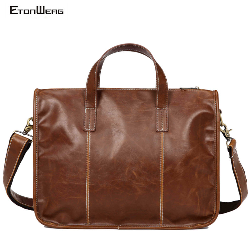 Men's Vintage Briefcase Brand PU Leather Handbag Computer Laptop Shoulder Bag Business Office Tote Large Solid Messenger Bags