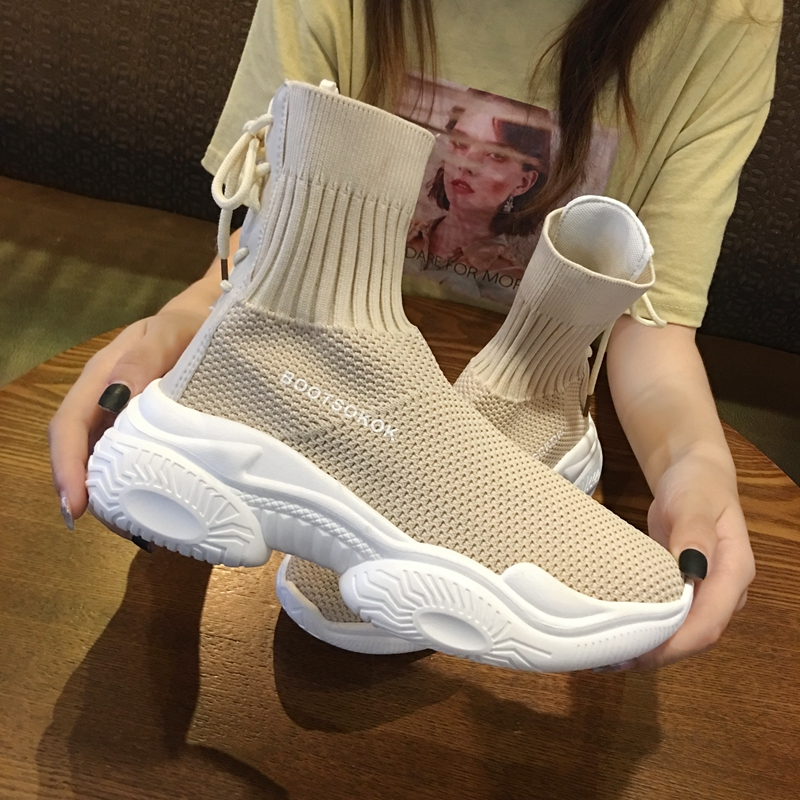 Ins Socks Shoes Women's 2019 New Fall Student Fly Woven Mesh Face Breathable Muffin Old Dad Shoes High Top Sneakers