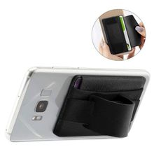 Fashion Men Women Lycra Leather Multifunction Adhesive Sticker Back Cover Card Case Pouch Stand Holder For Cell Phone New