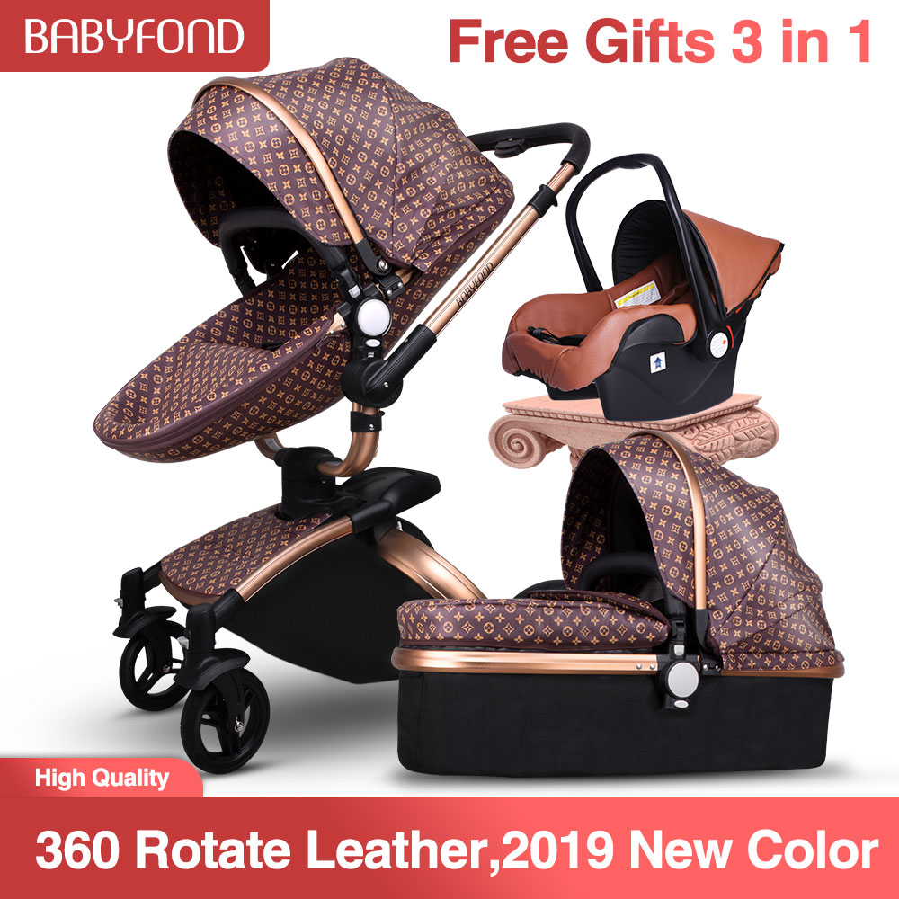 Babyfond Luxury High Landscape  Baby Stroller 3 In 1 Fashion Baby EU Standard Independent Newborn Free Ship! Free Gifts!