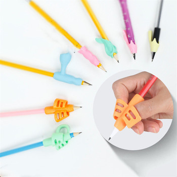 2pc Soft Glue Two-Finger Easy Correction Pen Holder Pen Grip Learning Writing Tool for Students Kids Pencil Trainer Stationary напольная игра эра твистер с 77