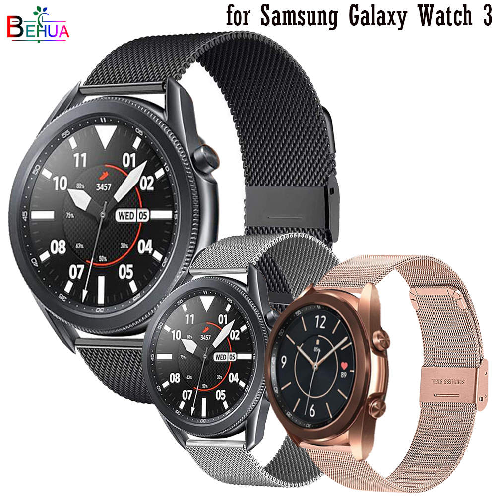 22 мм 20 мм Миланский стальной ремешок для часов для Samsung Galaxy Watch 3 45 мм 41 мм ремешок для часов для Amazfit GTR 42 мм 47 мм браслет