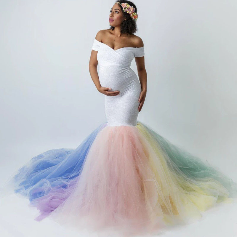 Maternity Lace Maxi Dress For Photo Shoot Sexy Colorful Mesh Patchwork Pregnant Dresses For Women Pregnancy Dress Photography