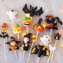 Cakelove Halloween  Cake Topper Soft Ceramic Resin Pumpkin Ghost Cupcake For Dessert Decoration Masquerade Birthday