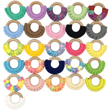 50mm Raw Wooden Baby Teething Rings Infant Teether Toy DIY Accessories For 3-12