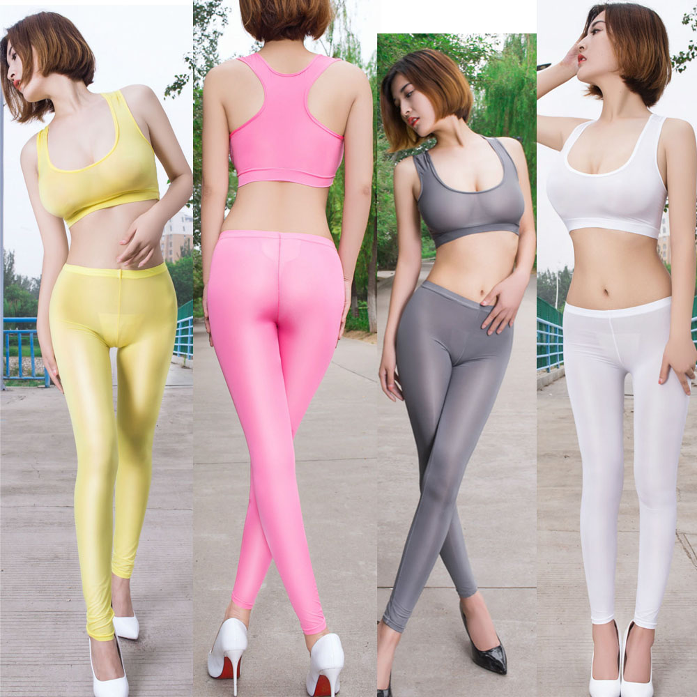 Oil Glossy Crotchless Leggings Transparent Fantasy Sexy Leggings Pole Dance Clubwear Hot Pants Fitness Joggers Women Trousers