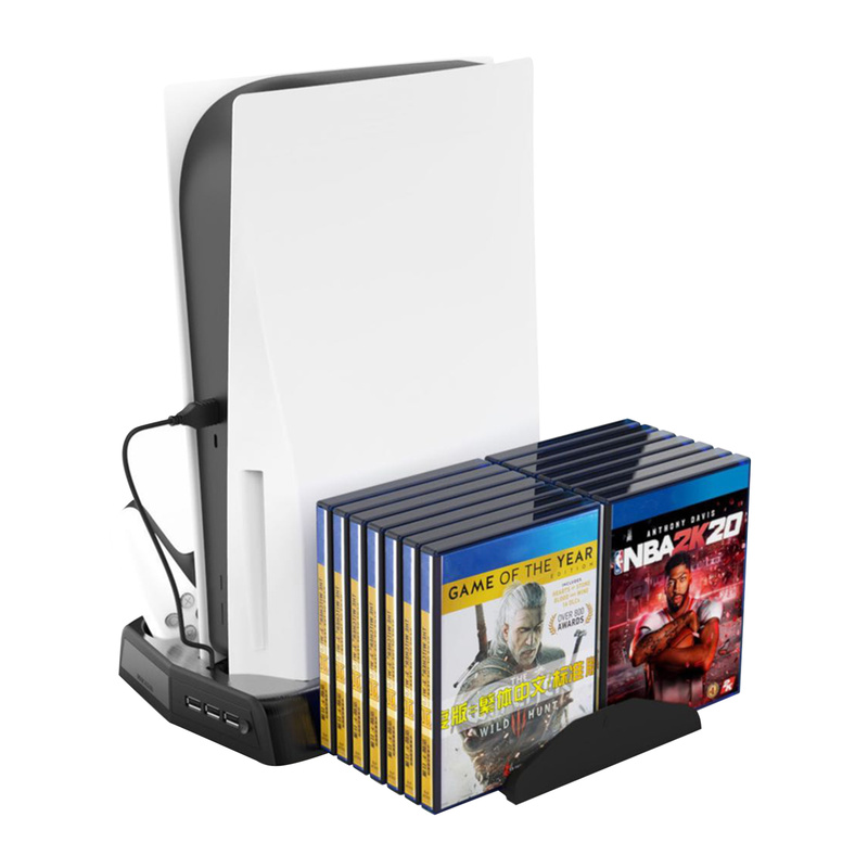 Game Controller Charging Dock Vertical Holder with Cooling Fan Dual Charging for PS5 Console Storage Rack Charging Dock