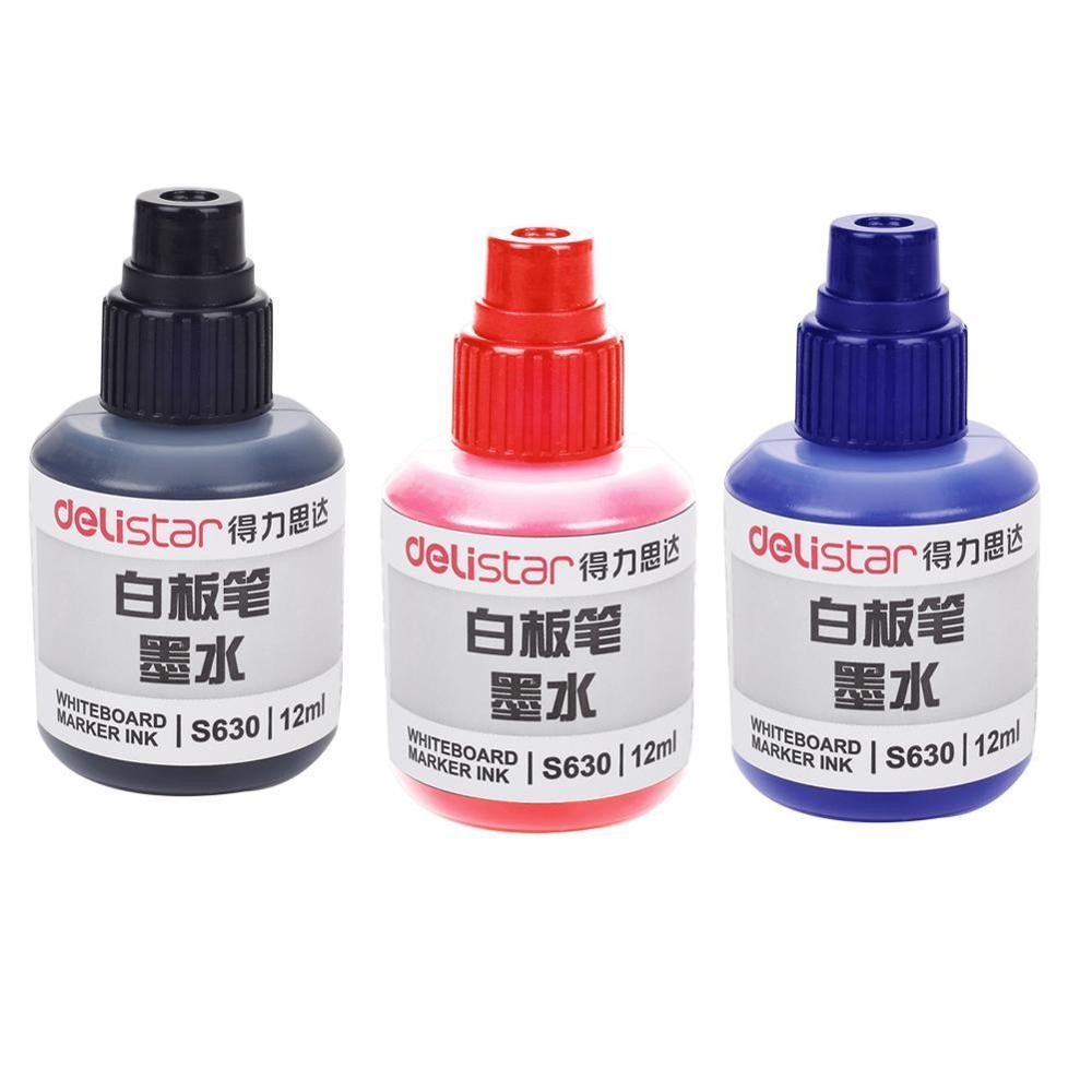 Deli 1Pcs 12ml/Bottle Deli S630 Whiteboard Pen Ink 3 Color Disposable Ink Supplement Liquid Whiteboard Marker Ink Wholesale