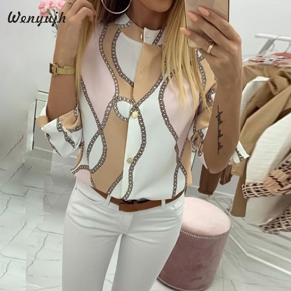 Wenyujh Casual Blouse Chains Basic-Shirt Sleeve Elegant Top Print-Button O-Neck Female title=