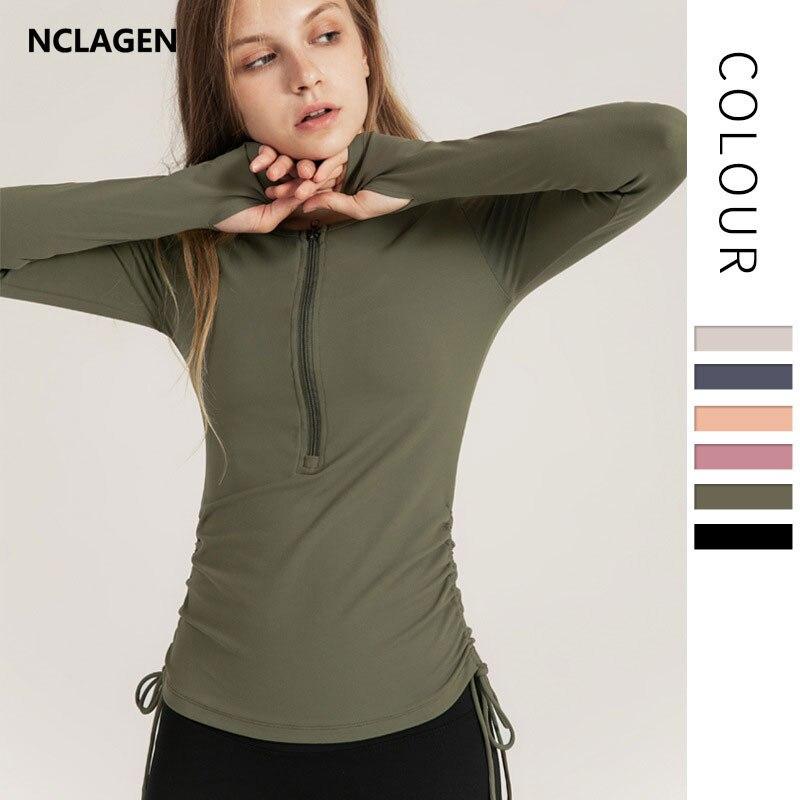 Спортивный топ NCLAGEN, Женский пуловер на молнии с длинным рукавом, осенние Рубашки для йоги, быстросохнущие, для бега, с отверстиями для больш...