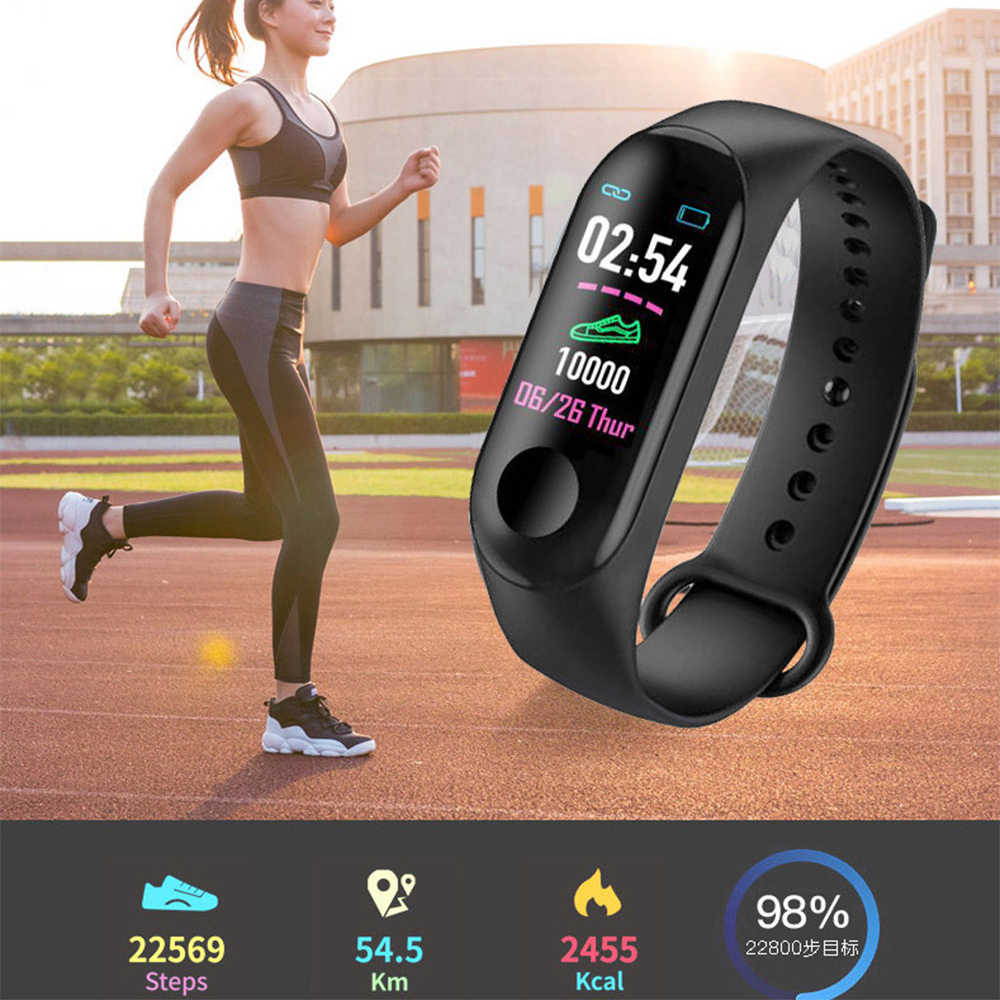LACHOUFFE Bluetooth Smart Horloge M3 Hartslag Bloed Monitor Smart Horloge Waterdicht Sport Smart Armband Band voor xiaomi huawei