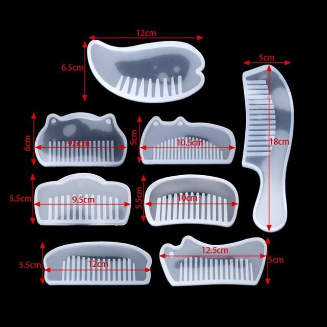 DIY Comb Mold Resin Epoxy Jewelry Making Crafting Polymer Silicone Mold Creative DIY Handicraft Comb Mold Decoration Tool 8pcs