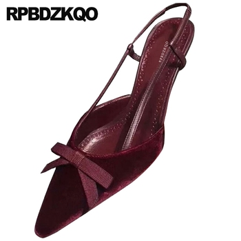pumps women fashion 2019 summer shoes bow medium heels pointed toe black high slingback thin wine red ladies velvet size 4 34