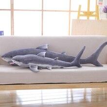 Simulation shark plüsch spielzeug streifen schlaf kissen großen weißen hai kinder Tricky Kreative Spielzeug geburtstag geschenk für kinder freunde