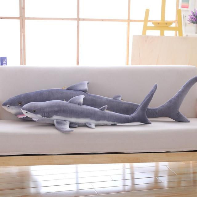 Simulation shark plush toy strip sleeping pillow big white shark children Tricky Creative Toys birthday gift for kids friends