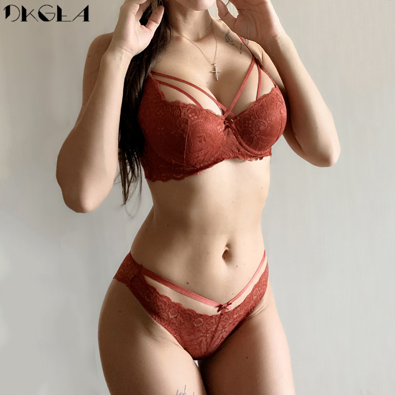 New Brand Sexy Bras Push Up Underwear Set Cotton Thick Brassiere Gray Women Bra Panties Sets Lace Black Embroidery Lingerie Set