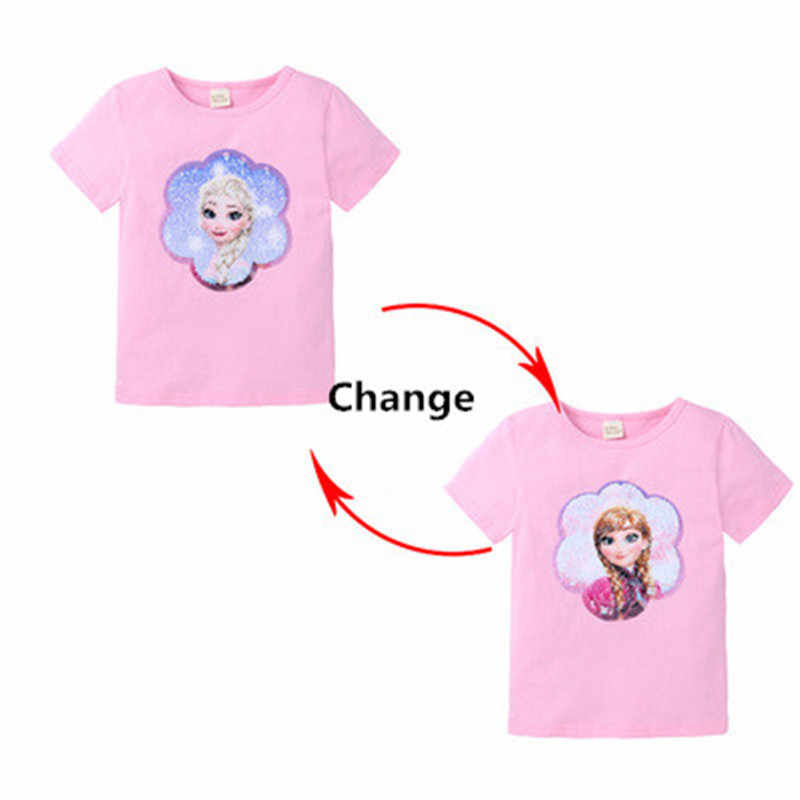 Summer New Baby Girl Clothes For Girls T-shirt Snow Queen Anna Elsa Cartoon Print Short Sleeve Shirts For Girl Gifts Child Tees