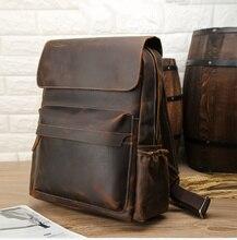 Vintage handmade genuine leathe backpack men business school versatile top quality brand daypack classic book bag bolsa
