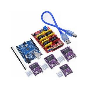 A18 -- cnc щит V3 гравировальный станок 3D принтер + 4 шт. DRV8825 Плата расширения драйвера для Arduino UNO R3 с USB кабелем