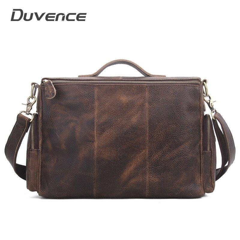19 inches Men's Bags Shoulder Handbag Briefcases Large Travel Bag for Man Messenger Handbags Laptop Briefcase Handbag Brown-in Briefcases from Luggage & Bags    1