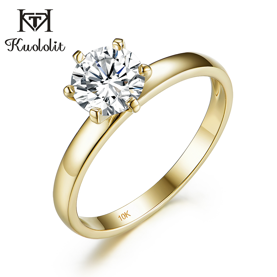 Kuololit 100% Natural Moissanite 10K Yellow gold Rings for Women Round 1ct Solitaire ring wedding cluster bridal promise ring