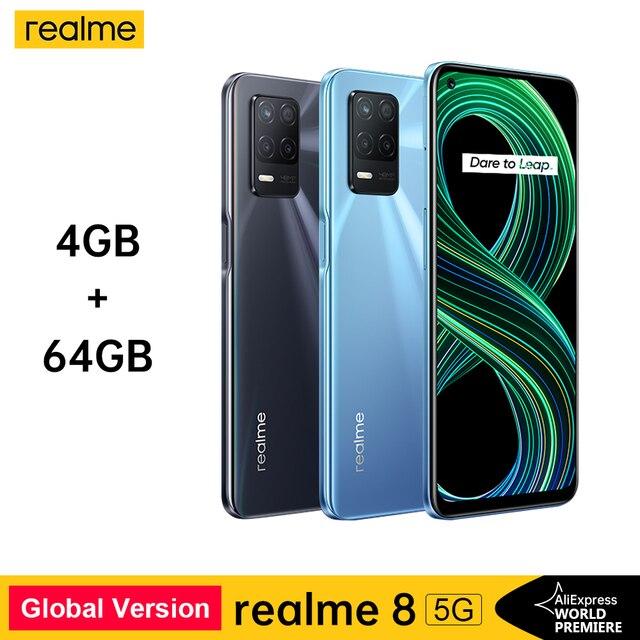 realme 8 5G Global Russian Version NFC Dimensity 700 90Hz Display Smartphone 5000mAh 48MP Triple Camera 4GB 64GB 1